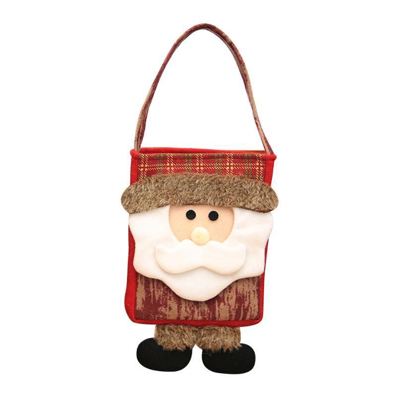 Xmas Gift Holder Bag Christmas Candy Bag Children Gifts Handbag Xmas Santa Snowman Pattern New Year Decor Christmas Ornaments