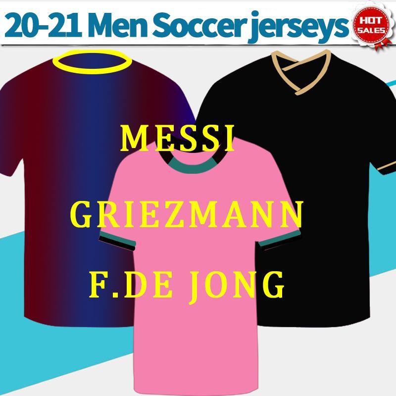 #10 MESSI camise 2021 Home soccer jersey 20/21 Men away black gold soccer shirt third pink #21 F.DE JONG #7 GRIEZMANN Football Uniforms