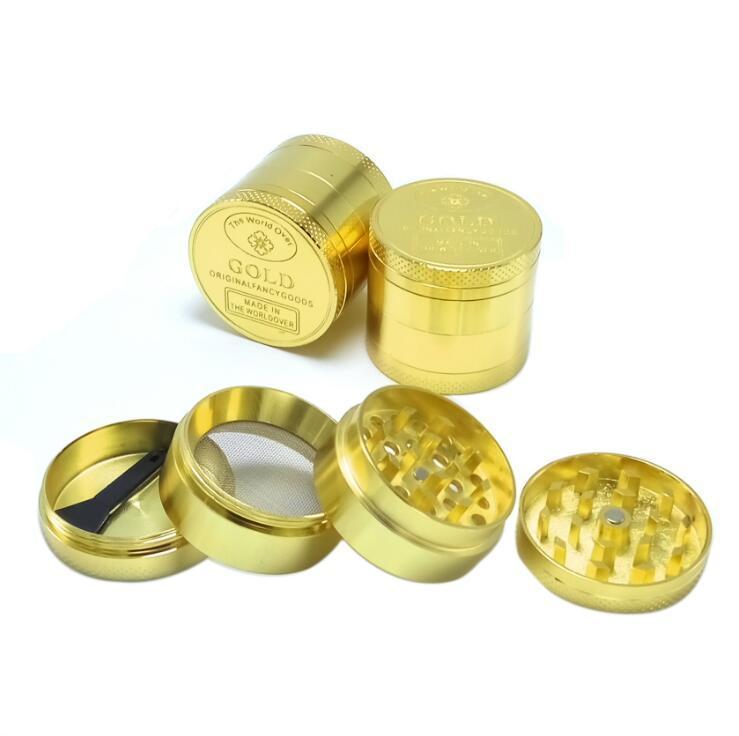 El zinc Tabaco Tabaco Grinder de aleación de metal amoladoras moleta de la mano pimienta molinos del modelo del oro del cigarrillo accesorios de fumar 40mm 4 Capas YL301