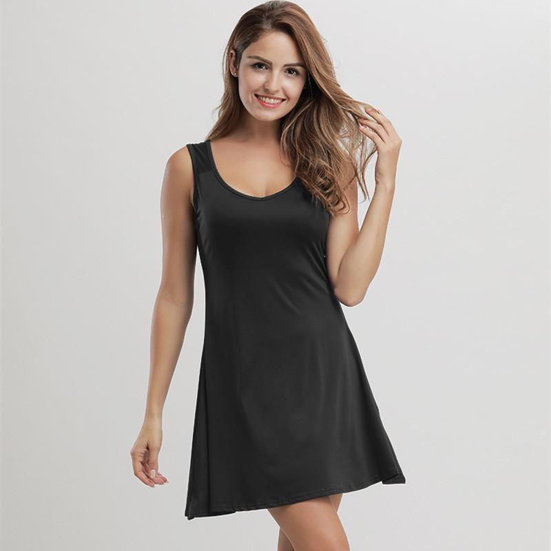 Mujeres vestido atractivo de la correa del color sólido flaco Mini vestidos de la ropa del verano de la nueva manera con cuello redondo Vestido ocasional Tamaño Plus