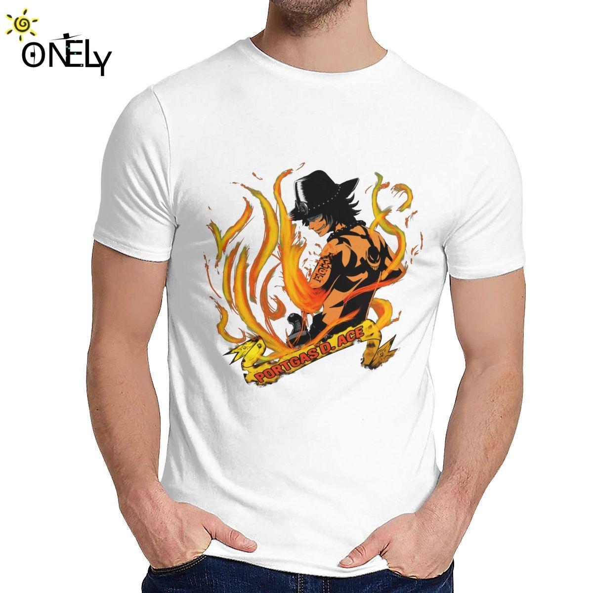 Freizeit Mann-T-Shirt Puma D. Ace One Piece Anime aus reiner Baumwolle O-Ansatz Retro-T-Shirt