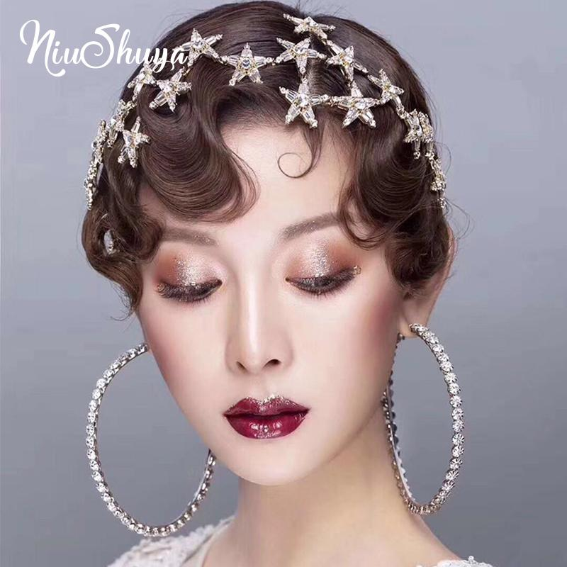 NiuShuya Moda Gold Star Hairband per le donne dolce Wedding Accessori per capelli Tiara ragazze eleganti fascia Headwear Accessori