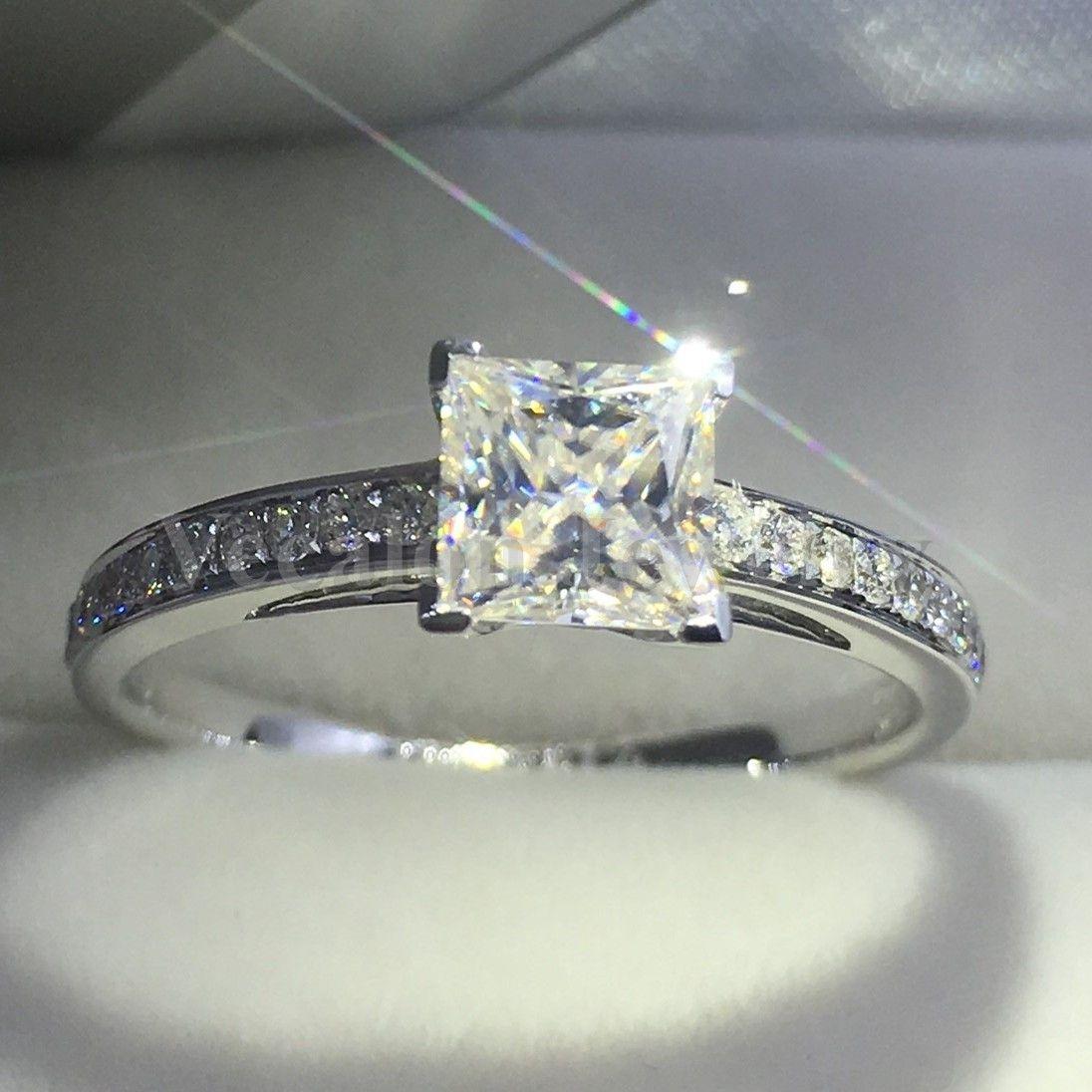 Vecalon Mode Bijoux Bague femme taille princesse 2CT diamant Cz Argent 925 Femme mariage bague de fiançailles bande