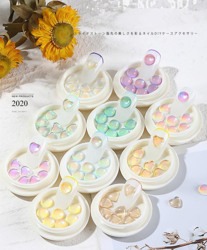 Grânulos coloridos unhas cristais 3D Art Decoração Rodada Coração Caviar Beads Studs prego Jóias Manicure Acessórios F715