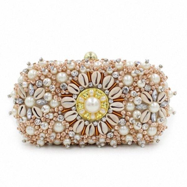 Gold Crystal Clutches Evening Bags Wedding Party Banquet Wallet Women Pearl Beaded Handbags Bridal Rhinestones Clutch Bag Ivanka Trump jCuJ#