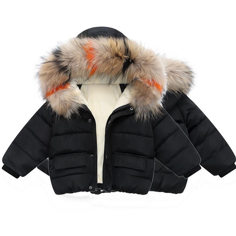 Garçons Automne Manteaux d'hiver Vestes Enfants Garçon Fille Toddler col de fourrure à capuchon enfants au chaud Zipper Vêtements d'extérieur Vêtements de bébé