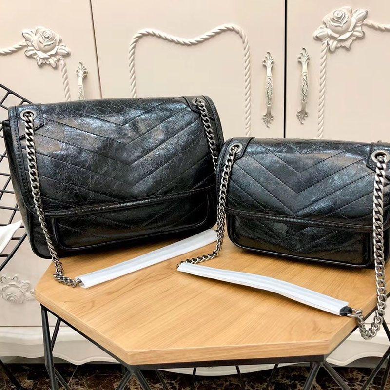 Saco clássico Mulheres Bolsas de couro genuíno de óleo de cera Pele de vaca Flaps Cadeia Bolsas Lady ombro saco Messenger Bags Flap