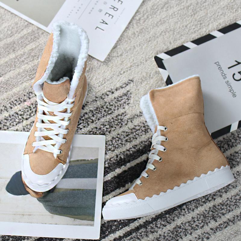 Scarpe di alta qualità in pelle scamosciata Stivali Donne tenere in caldo Snow Boots della piattaforma delle donne di modo di inverno pizzo marrone fino alla caviglia femminile Nuovo