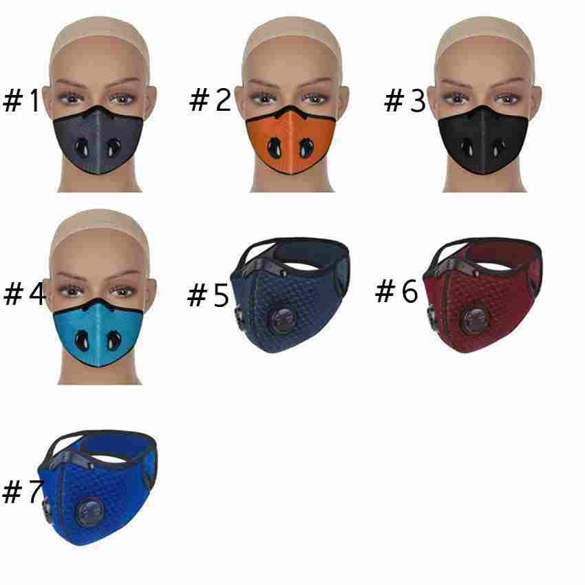 7 Máscaras cara exterior Colores de bicicletas Montar a prueba de polvo anti smog reutilizable malla transpirable Ciclismo Máscara Zza2383