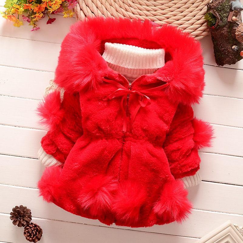 2018 coelho Casaco de Pele Meninas Fur Jacket Jacket Red Wine Natural Meninas Jacket filhos de Roupa Quente Casual