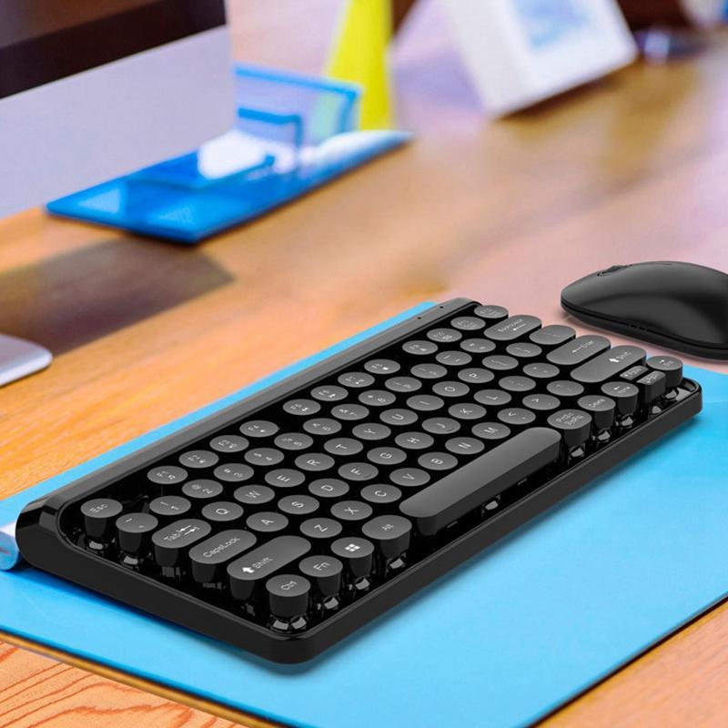 Tastiera 2.4G Wireless Keyboard mouse Combo 84 rotonde Keys Cap meccanica con l'ergonomia Kit mouse per il PC portatile nero