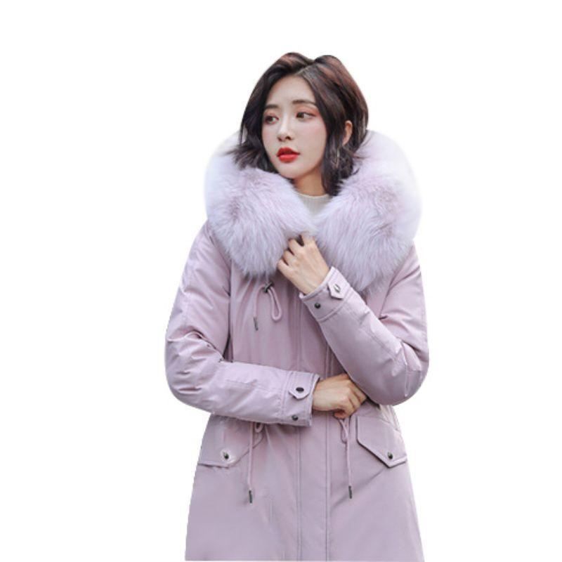 Winter neue Frauen arbeiten Gram Mantelkragen starker warmer Mantel mit Kapuze Damen-langen A-Line Oberbekleidung beiläufiger Reißverschluss