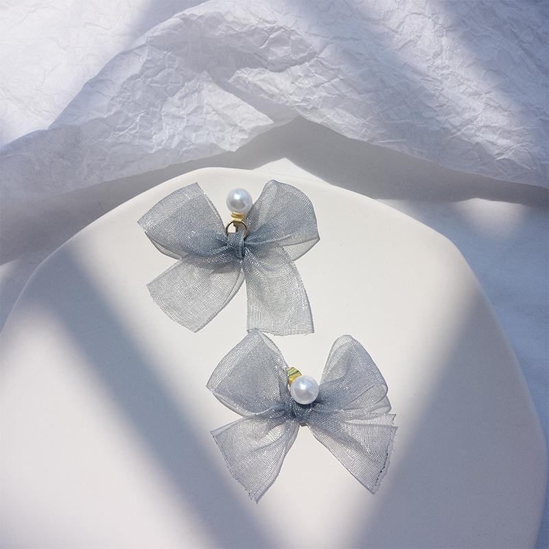 Japonais et coréens frais Bow oreilles Studs femmes super fée en mousseline de soie ruban oreille Goujons Mode simple style doux oreille Goujons Minceur