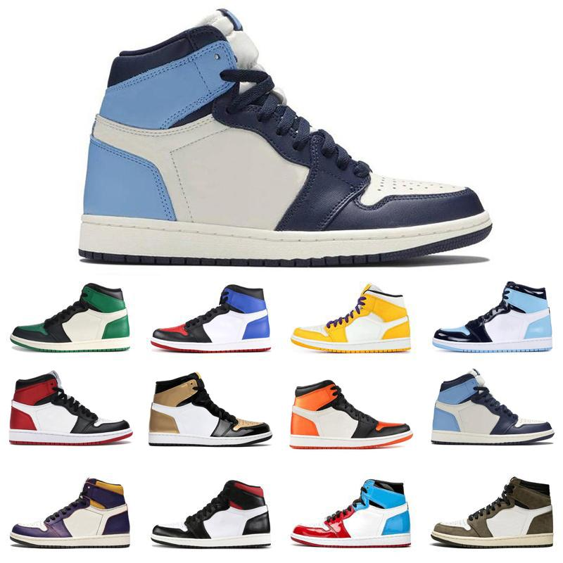 2020 новые Jumpman 1 High OG Travis Scotts обсидиана Грязные розовые пальцы UNC баскетбол обувь мужская Разрушенные дизайнер Backboard 3,0 спортивная обувь