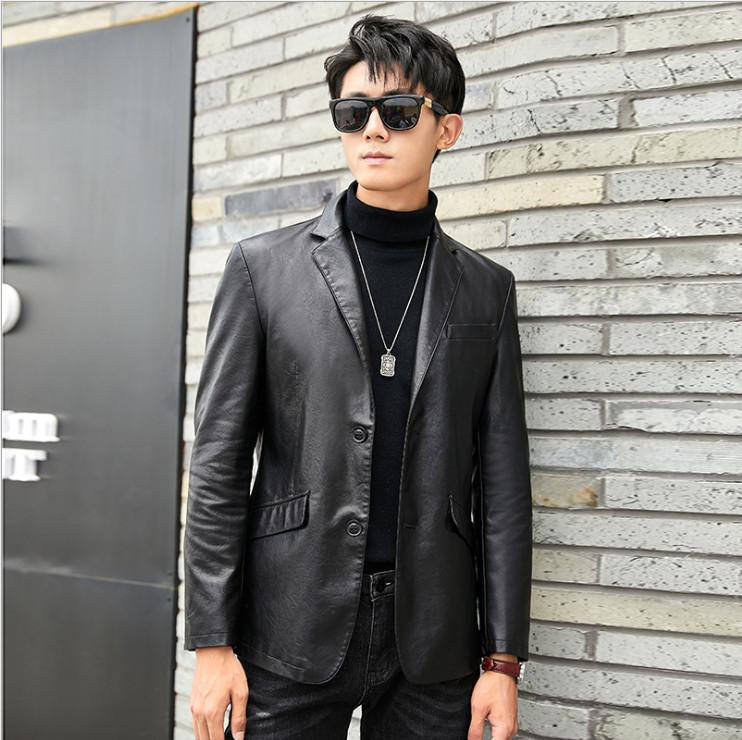 Japanese Version Leather suit men slim trend yuppie social spirit boy Leather Jacket hairdresser sheepskin leather coat