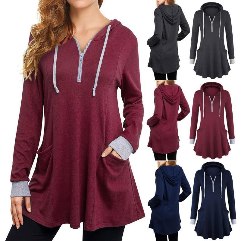autunno 2020 hoodies doppia altezza solide per le donne con cappuccio Streetwear lunghe felpe e felpe pantaloni della tuta e donne insieme del hoodie