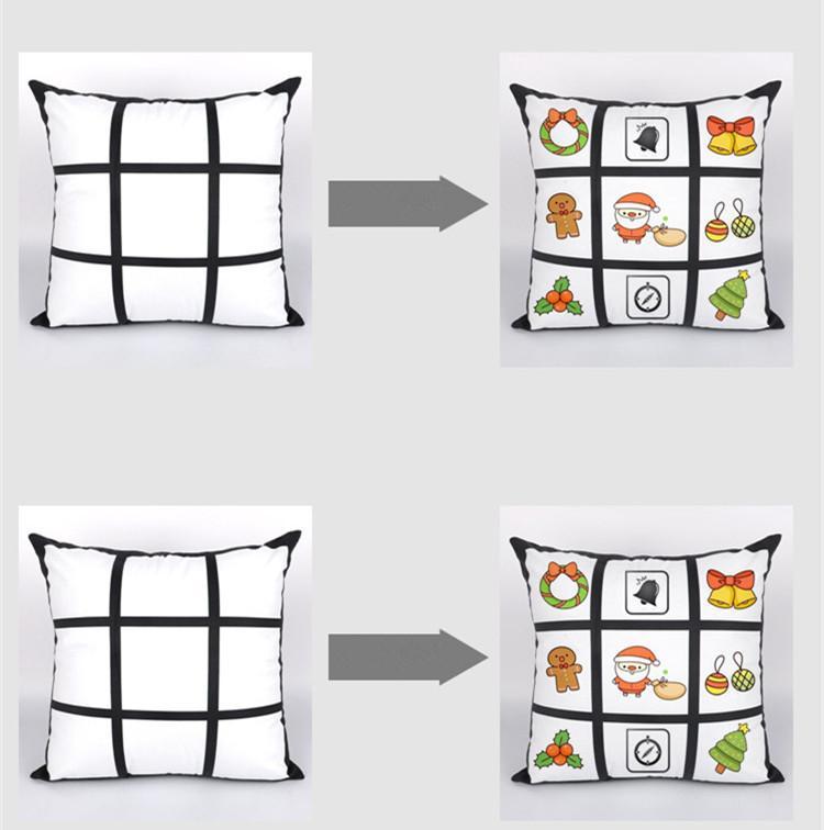 Sublimation Blank Taie bricolage Sublimation 9-Grid 45cm * 45cm Pillowcases transfert de chaleur d'impression pillowslip blanc Sans PP Coton