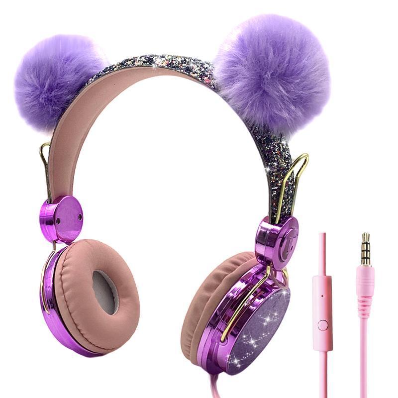 Sevimli Çocuk Kablolu Kulaklık Mikrofon Kız 3.5mm Müzik Stereo Kulaklık Bilgisayar Cep Telefonu Gamer Kulaklık Çocuk Hediye