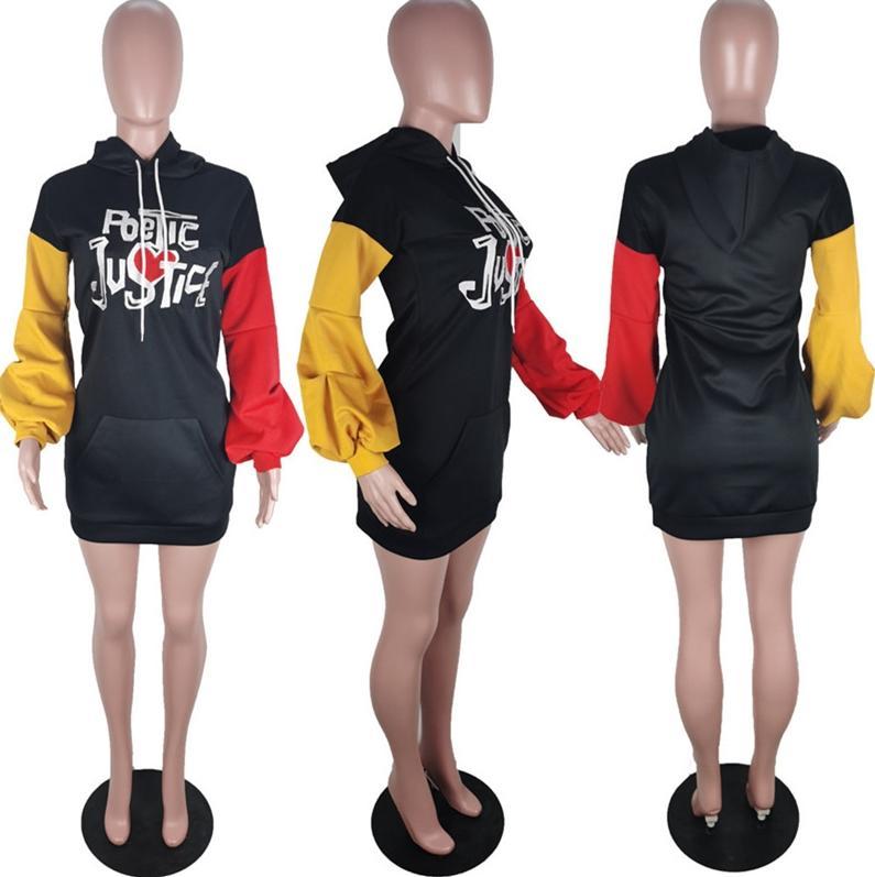 Frauen Stickerei Buchstaben Hoodies Kleider Herbst-Winter-Hauch-Hülsen-mit Kapuze Bluse Kleid Constrast Farbe Sweatshirts One Piece Kleider D9904