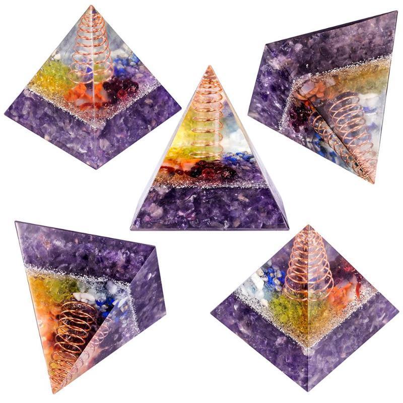 Генератор TUMBEELLUWA Чакра Кристалл Orgonite Пирамида энергии с помощью медной проволоки Rock Quartz точки для йоги и медитации Балансировка