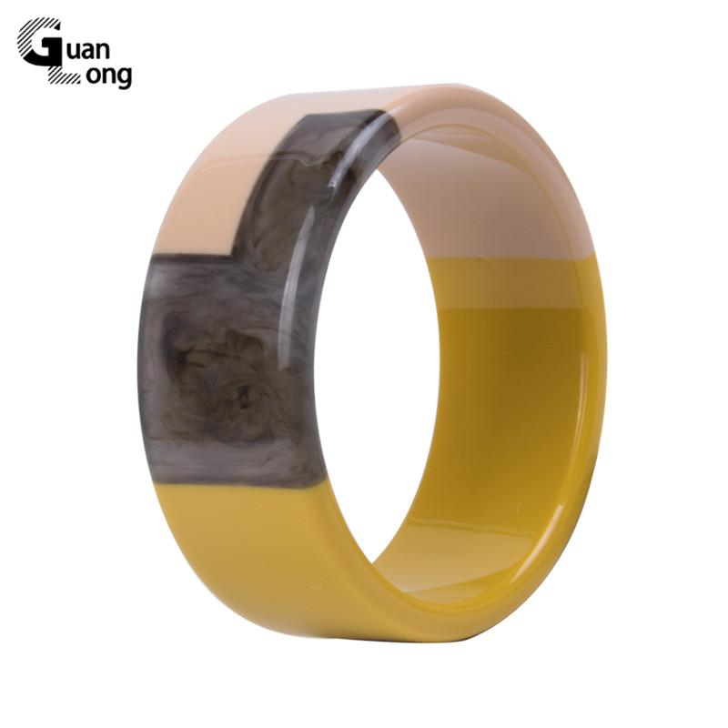 Guanlong Горячие продажи Большой мода манжета Wide Смола браслеты браслет для женщин Простого Vintage акриловой Геометрической браслет шарма ювелирных изделий