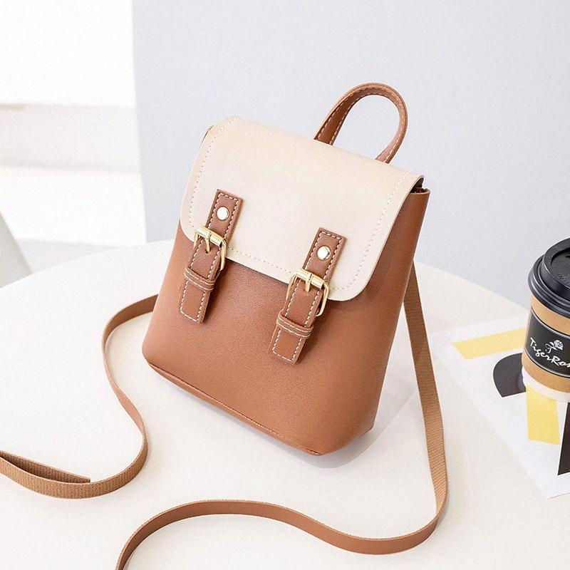 Großhandel Farbkontrast Rucksack Multi-Funktions-Mini-Rucksack-Schulter-Frauen-Beutel Kleiner Schoolbag Japan und Korea PU-Leder-Tasche 5RxD #