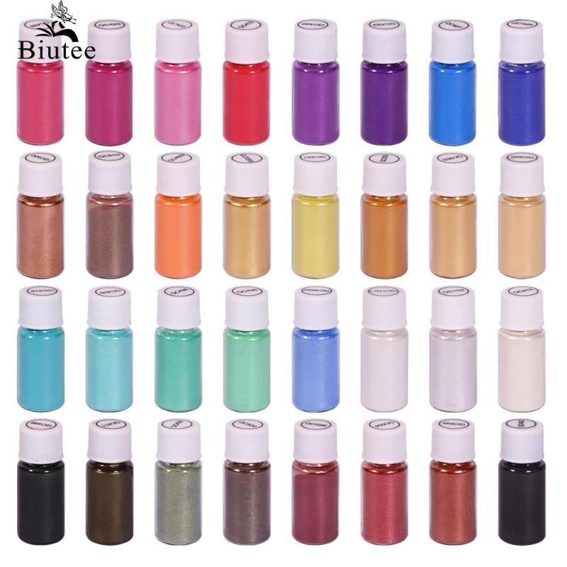 Banyo Bombalar Toptan yapma Dudak Parlatıcı Nail Art Reçine Sabun Craft Candle'a BIUTEE 32 Renkler Mika Pigment Toz Epoksi Reçine