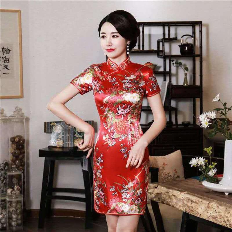 Vêtements ethniques Impression Rouge Mariée courte Mariage Qi Pao Cheongsam Qipao Robe Noir Rose Blanc Blanc Bleu Mini demoiselle d'honneur chinois