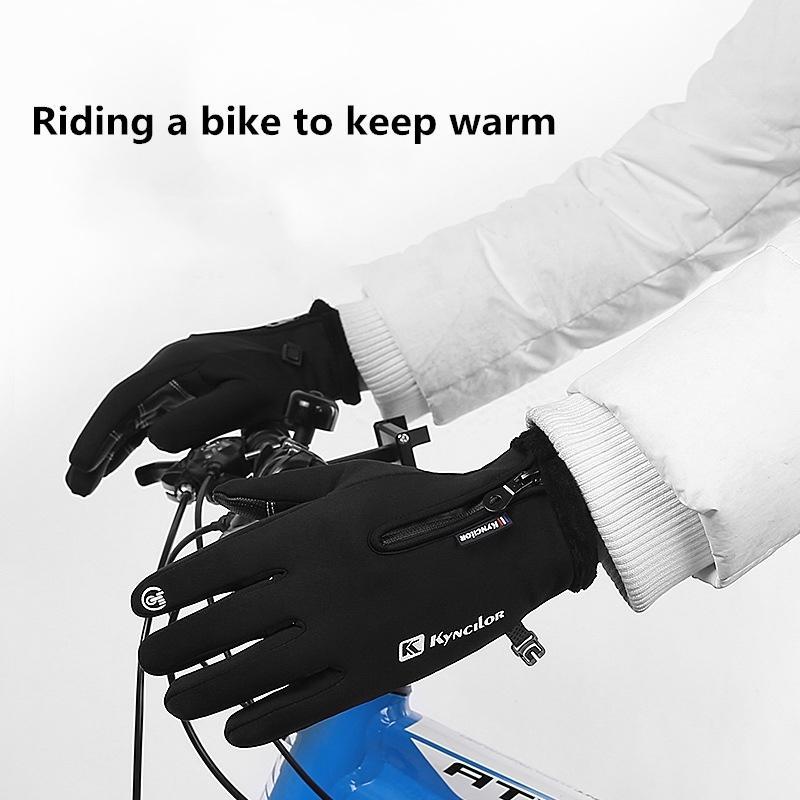 Luvas de bicicleta Outono E Inverno Windproof luvas do toque de bicicleta Tela dedo Mountain Bike respirável completa Luvas à prova de choque Esportes