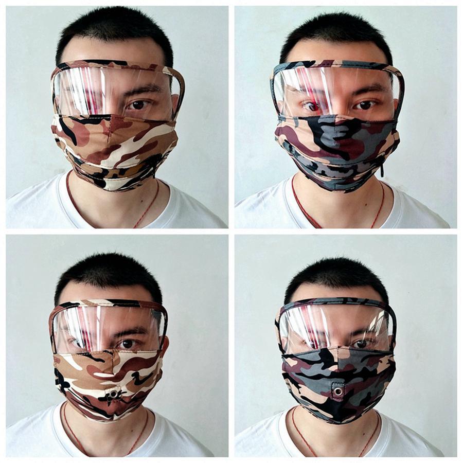 2 en 1 máscara de camuflaje cara con máscaras transparente protector del ojo reutilizable lavable algodón de la cara de la cremallera agujero bebida boca cara Máscaras RRA3265