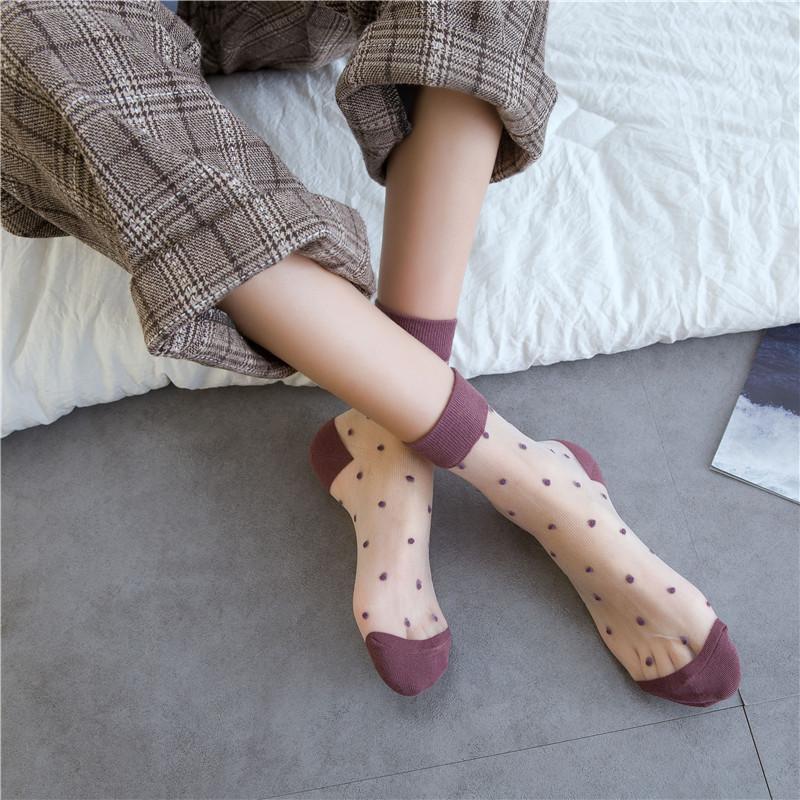 SPCITY Vintage Dot Renkli Yaz Şeffaf Komik Çorap Kadınlar Sevimli Hollow Out İnce Kısa Harajuku Çorap Casual Serin Sanat Çorap T200916