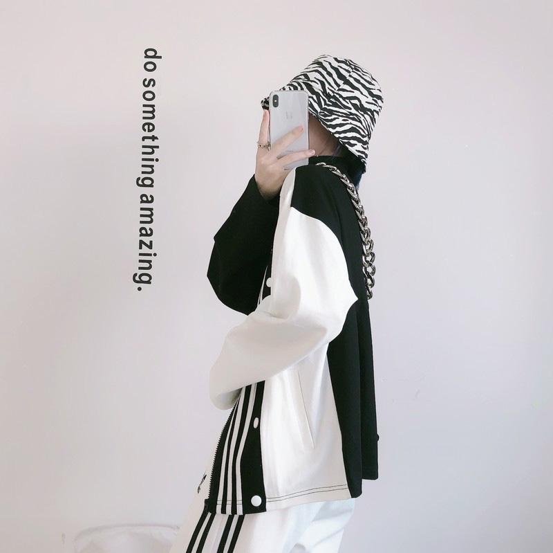 Moda Uomo Donne New giacca designer casuale Outwear per l'autunno primavera bianco nero con Foglia modello tre strisce formato S-2XL -1