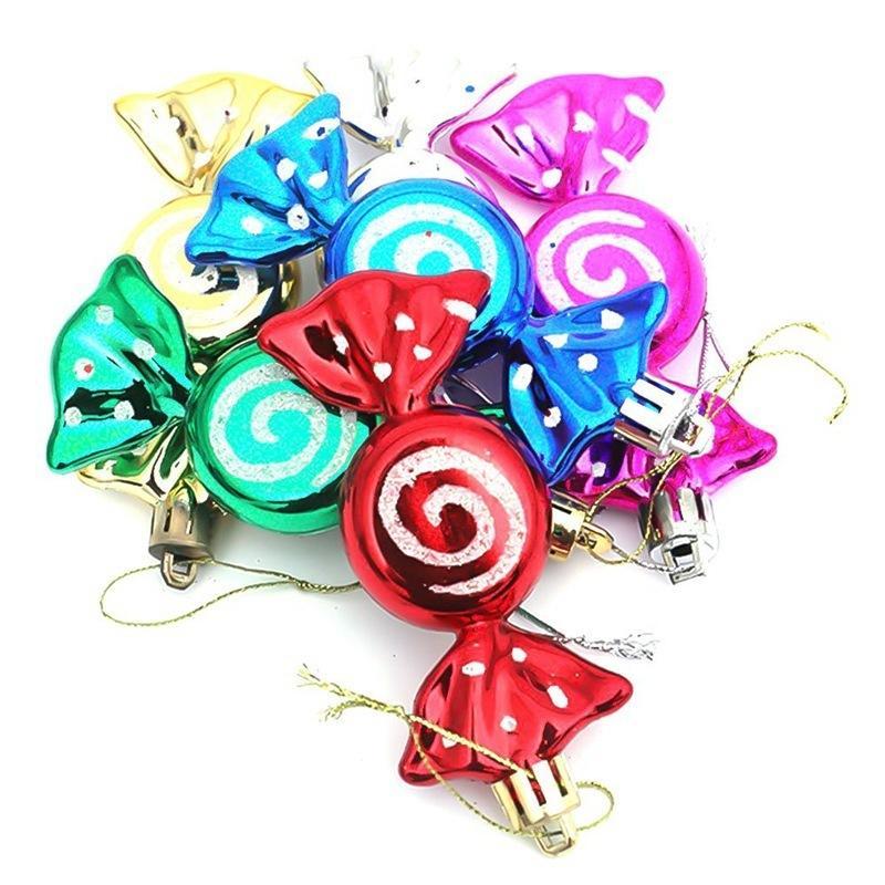 Süßigkeit hängende Ornamente Diy Partei 6pcs / box Weihnachtsdekoration Bunte Weihnachtsbaumschmuck Zeih