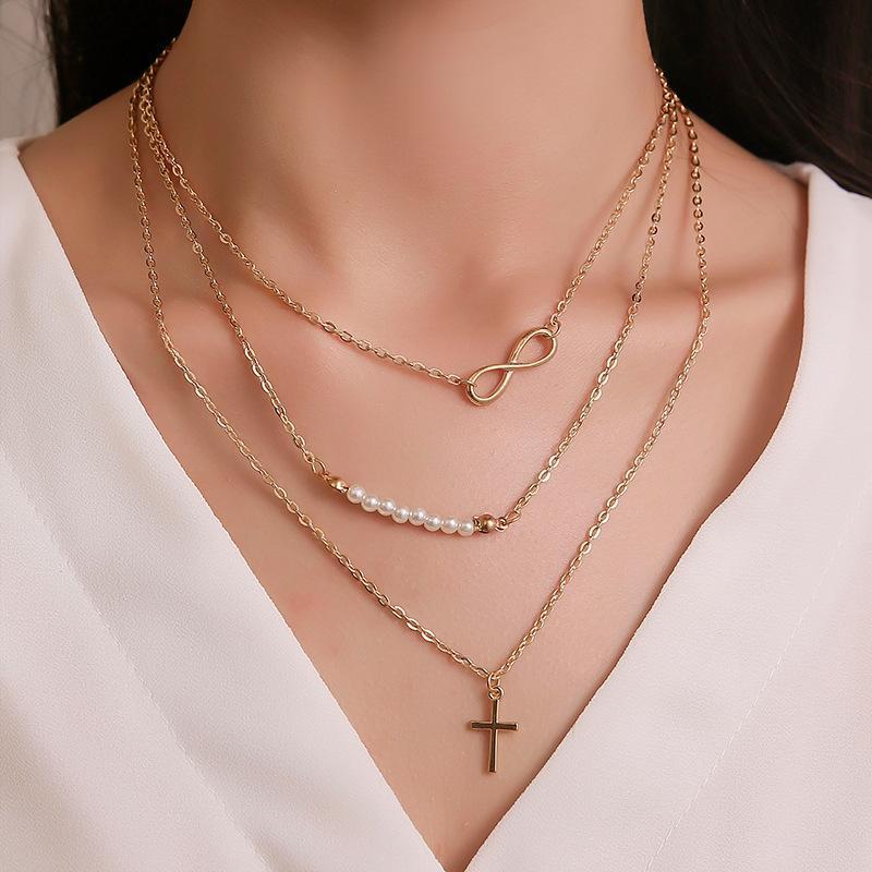 ABDOABDO forma de capas collar de perlas de tres capas de acero inoxidable Cruz colgante, collar de las mujeres de largo joyería