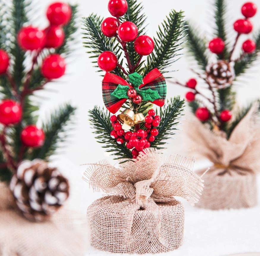 20cm Small Decorated Christmas Tree Fake Pine Tree Mini Artificial Christmas Tree Santa Snow Home Decoration