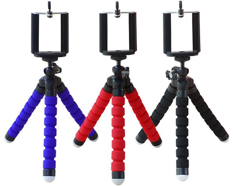 Trípode flexible del sostenedor para coche del teléfono celular de la cámara Gopro universal mini pulpo esponja del soporte del montaje selfie Monopod con el clip