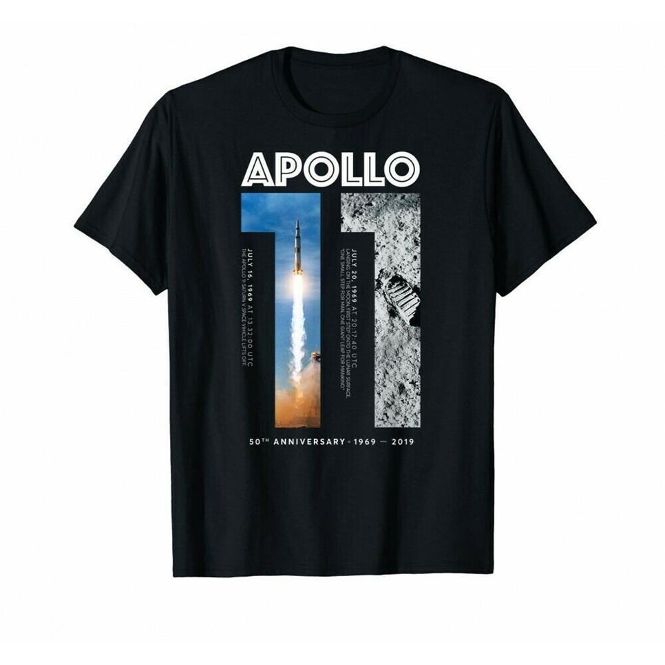 Negro del Apollo 11 50 aniversario camiseta alunizaje 1969 2019 camiseta de cuello redondo Camiseta