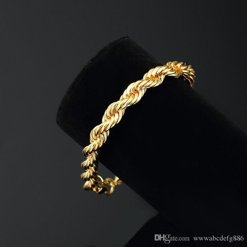 10 K or jaune réel Rempli Bracelet Corde de 5 mm, 21,5 cm / 8,4 pouces de long, pour hommes / femmes Vente événement