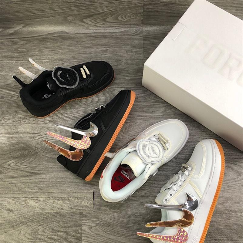AIR FORCE 1 Low Travis Scott Preto AQ4211-100 Designer Shoes Hommes Slipper Triplo Conselho calça as sapatilhas Sports 36-45