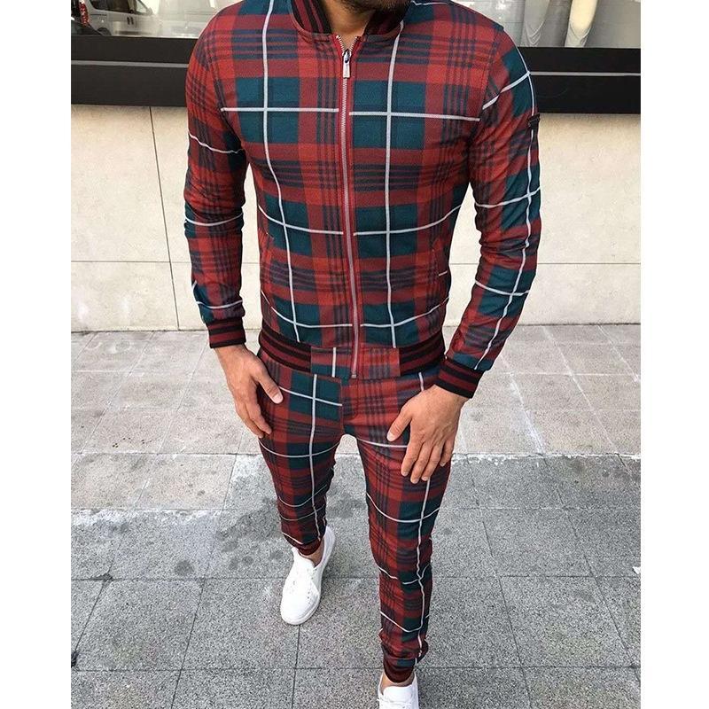 2020 Beyler Eşofman Moda Spor Suit erkekler Marka Ekose Fermuar Kazak + Sweatpants Erkek Giyim 2 adet Setleri