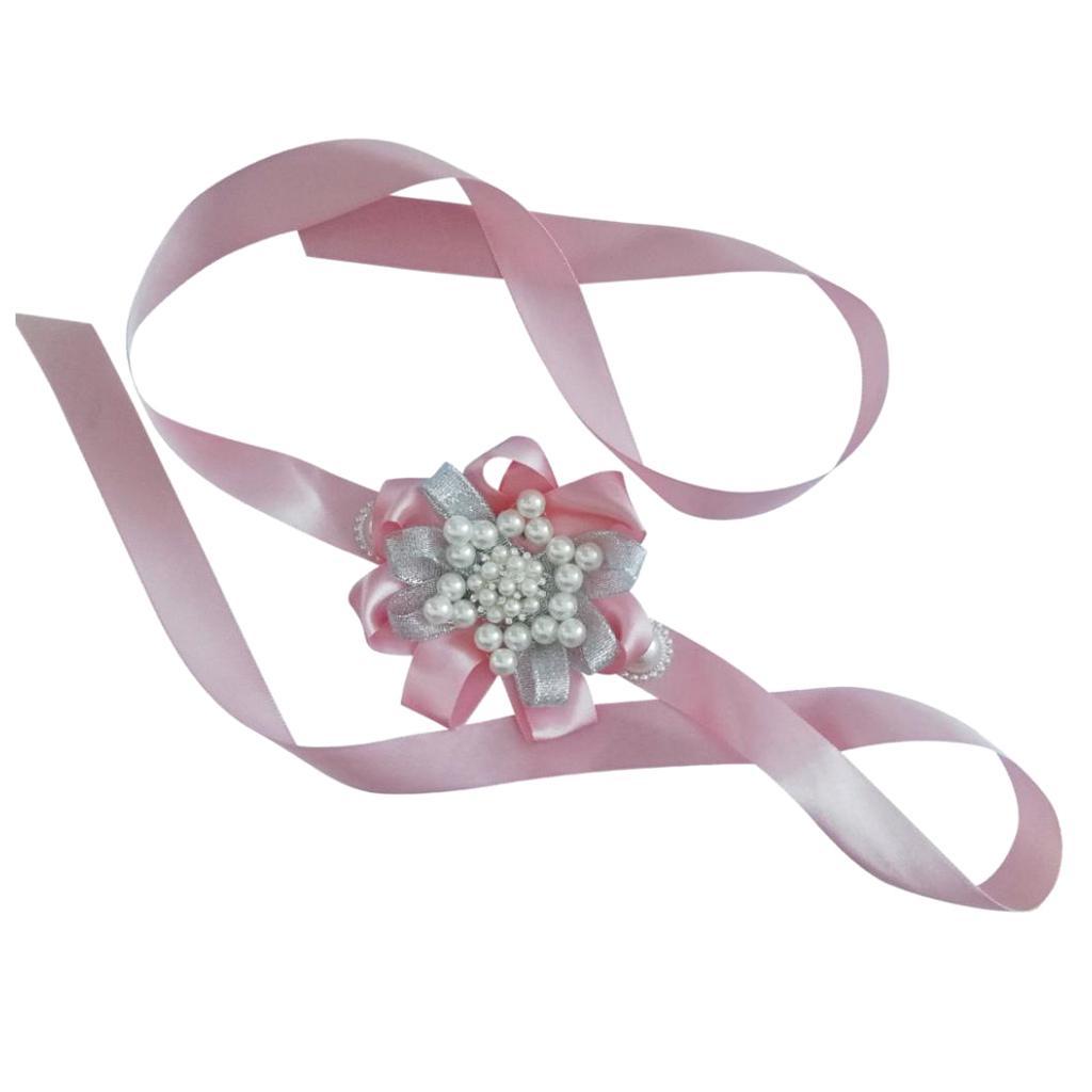 Cinta de dama de honor nupcial Pearl Muñeca Flor Corsage Regalación de compromiso de boda