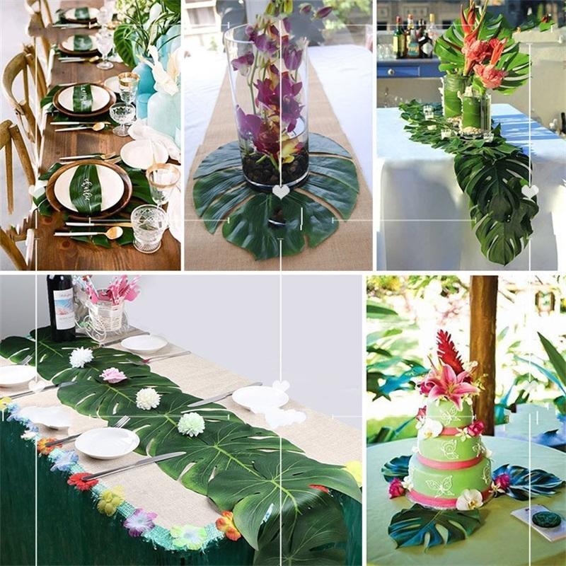35 * 29cm Feuilles de palmier Tropical artificielle Décorations festives Fausse feuille pour la maison de mariage Banquet Table dîner Tapis de jardin décorations pour les 14 5HB YY