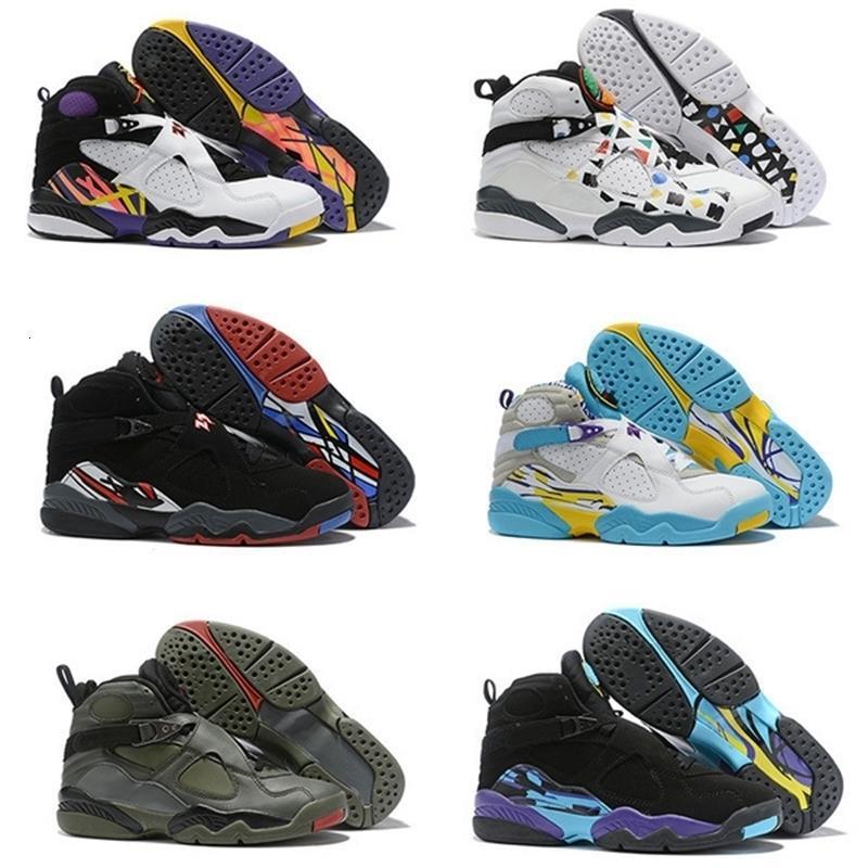 2020 New Jumpman 8 8s Loup rouge Gris Noir Violet Vert Hommes Chaussures de basket-ball pour la haute qualité de sport Chaussures de sport Baskets homme