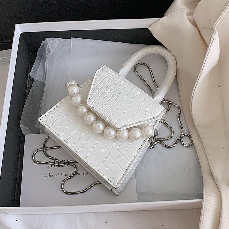 crocodilo padrão pequeno sacola 2020 New alta qualidade PU de couro Designer de Mulheres Handbag de pérolas Cadeia Messenger Bag Ombro