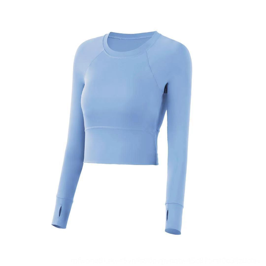APf3i long-sleeved sports clothes with chest pad women's quick-drying T-shirt running stretch clothing online yoga top Top clothes suit yoga