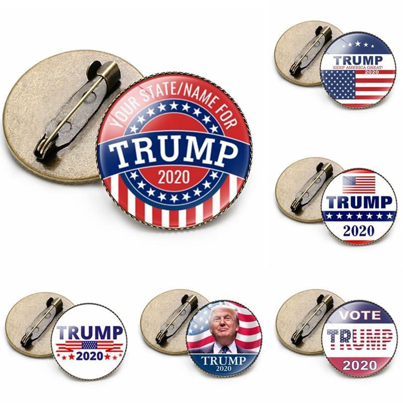 2020 Trump Spilla americano Elezioni presidenziali USA Flag perni del risvolto MAGA commemorativa distintivo 19 stile HHA1593