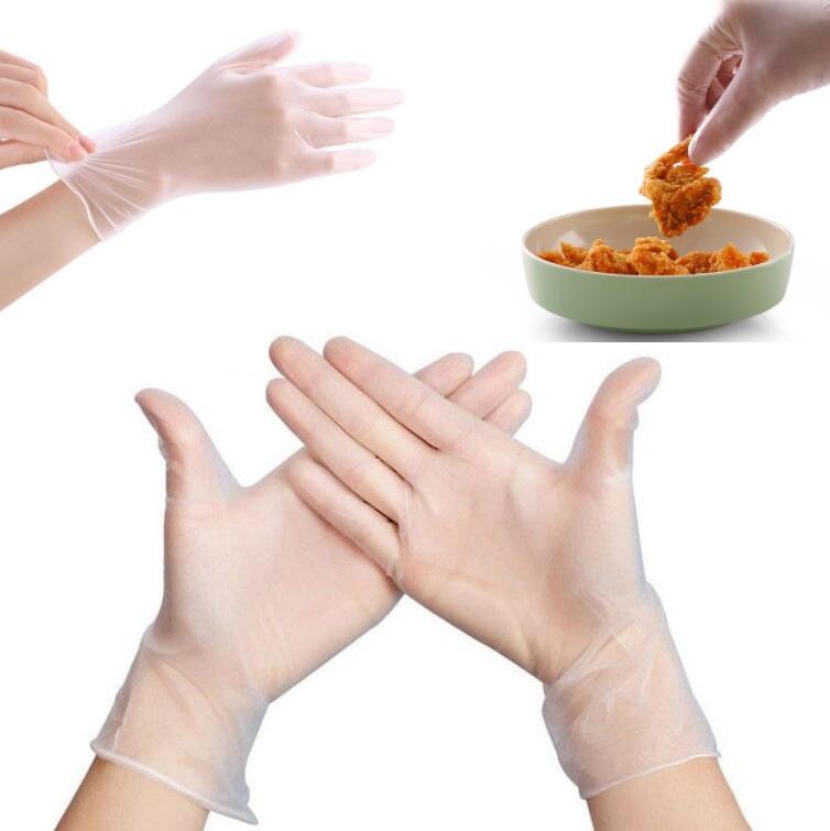 Auf Lager Einweg-Handschuhe Transparent PVC Handschuhe Kuechenwaschmaschinen Nitrilgewebe Reinigungshandschuh puderfrei Glove DHL-freies Verschiffen