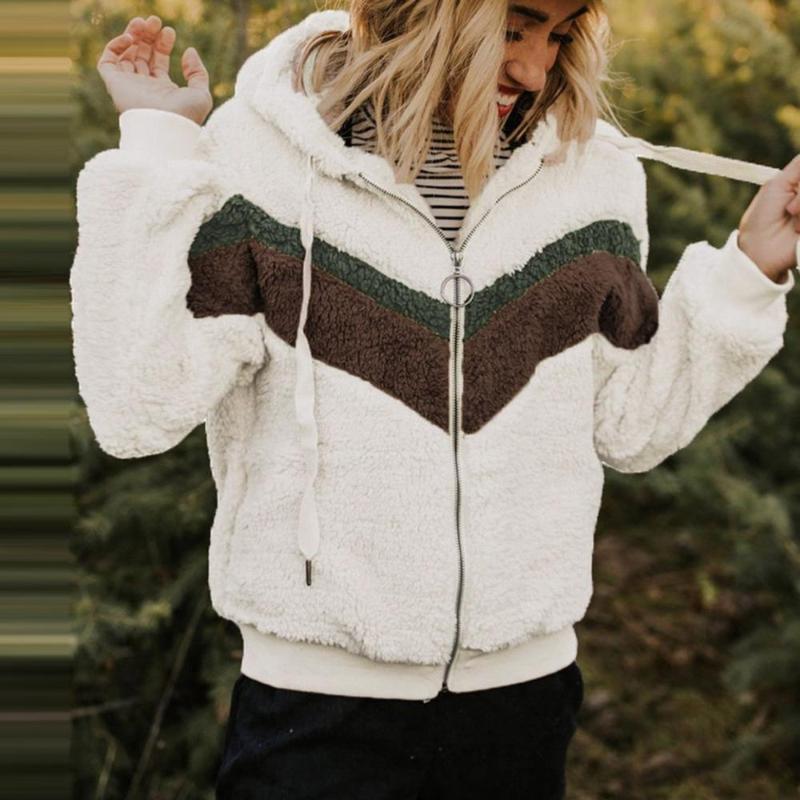 أفخم الصوف معطف زائد الحجم المرأة شتاء 2020 منفوش المرقعة كم طويل زيبر مقنع وهمية الفراء Wollen معطف أنثى المعطف
