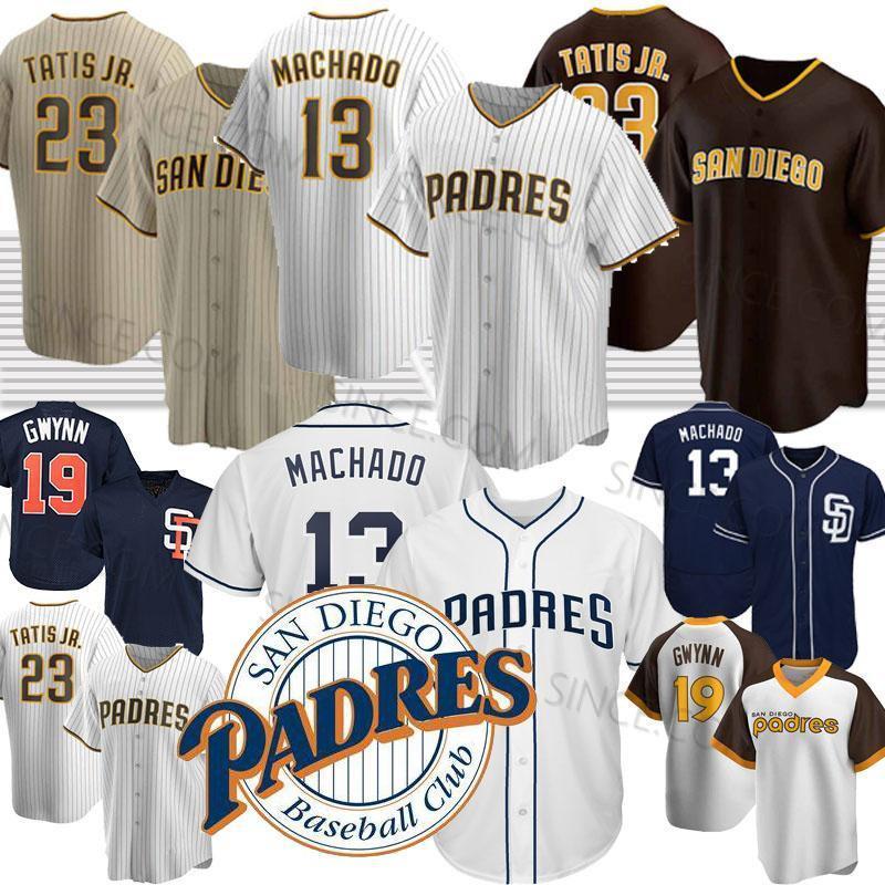 23 Fernando Tatış Jr. San Diego beyzbol formaları Padres 13 Manny Machado 19 Tony Gwynn 2020 Yeni Sezon Jersey Erkek Dikişli özel Retro