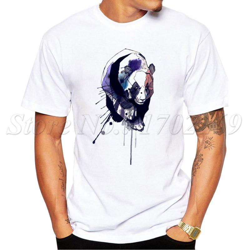 Aquarell Panda-Entwurfs 2019 neuesten Männer T-Shirt Summer Fashion Punk Style Melt Panda Printed T Short Sleeve Hipster Tops